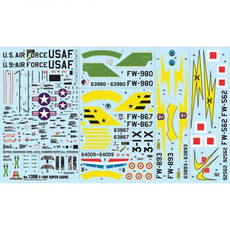 italeri 1398 F-100F Super Sabre 1/72 Kit en plástico para montar y pintar. Hoja de calcas con 5 decoraciones