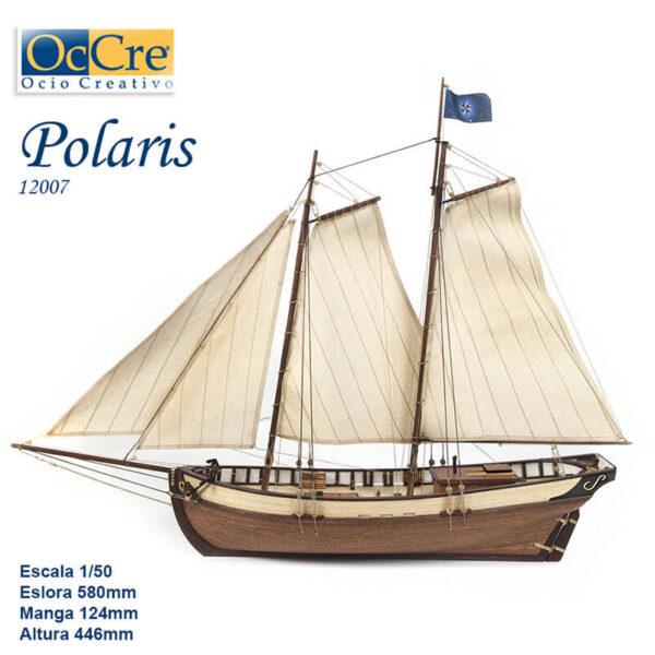 occre 12007 Polaris 1/50 Modelo de iniciación Kit de construcción tradicional en madera, casco por cuadernas con doble forro.