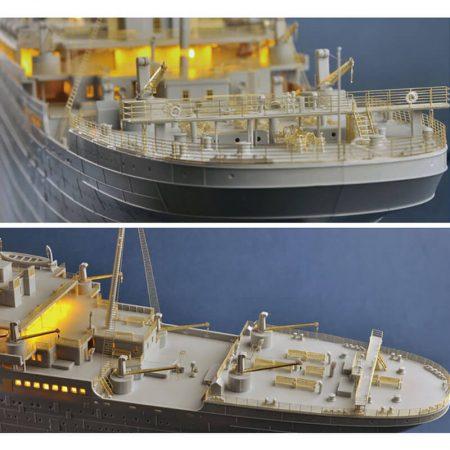 trumpeter 03719 RMS Titanic 1/200 Kit en plástico para montar y pintar. Incluye 7 planchas con piezas en fotograbado para las barandillas y detalles finos. Incluye un juego de iluminación por LED.