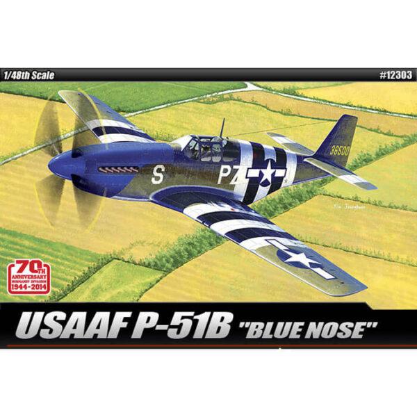 "academy 12303 USAAF P-51B Mustang ""Blue Nose"" 1/48 Kit en plástico para montar y pintar. Hoja de calcas por Cartograf."