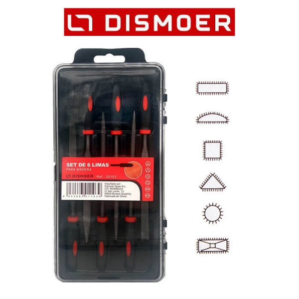 Set de 6 Limas para Madera 140mm Juego de limas especiales para desbastar y limar madera.