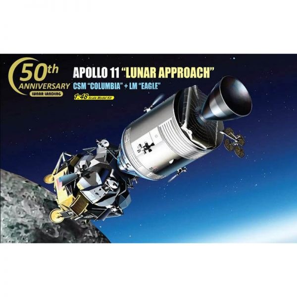 "dragon 11009 Apollo 11 ""Lunar Approach"" 1/48 CSM ""Columbia"" + LM ""Eagle"" Kit en plástico para montar y pintar."