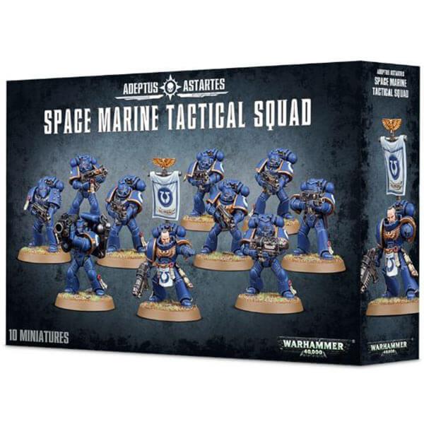 gws 48-07 Space Marines Tactical Squad La caja incluye 10 miniaturas multicomponente incluyendo un Sergeant y un arma especial.
