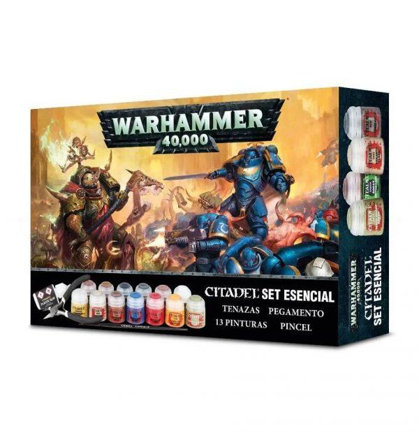 Paints + Tools Warhammer 40.000 Caja esencial Citadel En este set tienes todo lo necesario para preparar y pintar tus miniaturas.