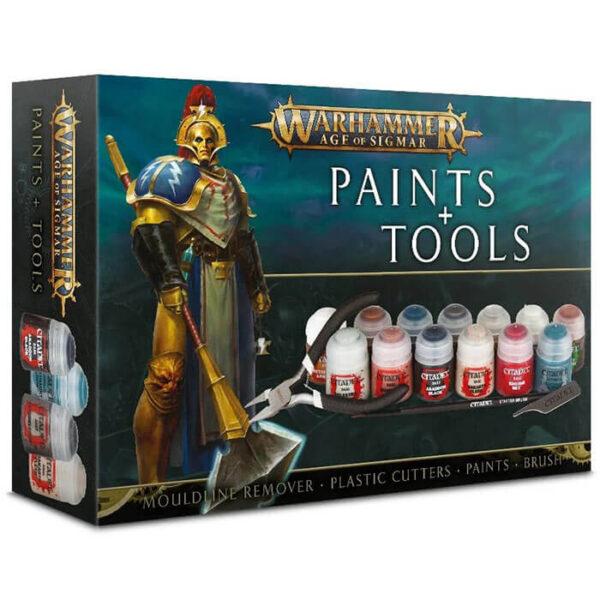 Paints + Tools Warhammer Age of Sigmar Set de pinturas y herramientas En este set tienes todo lo necesario para preparar y pintar tus miniaturas.