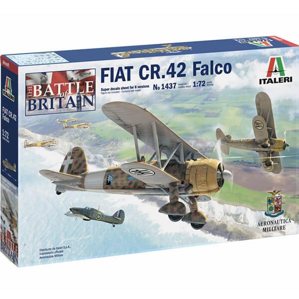 italeri 1437 FIAT CR.42 Falco 1/72 Kit en plástico para montar y pintar. Hja de calcas con 6 decoraciones de la Regia Aeronautica Italiana.