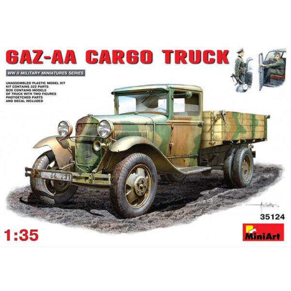 miniart 35124 GAZ-AA 1.5t Cargo Truck 1/35 Kit en plástico para montar y pintar. Incluye piezas en fotograbado y motor detallado.