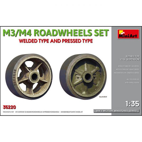 miniart 35220 M3/M4 Roadwheels Set 1/35 Welded Type And Pressed Type Kit en plástico para montar y pintar.