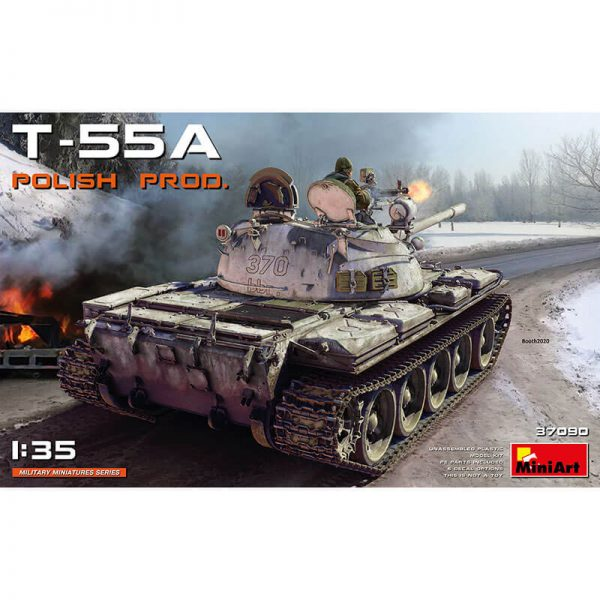 miniart 37090 T-55A Polish Production 1/35 Kit en plástico para montar y pintar. Incluye piezas en fotograbado y cadenas por eslabones individuales.