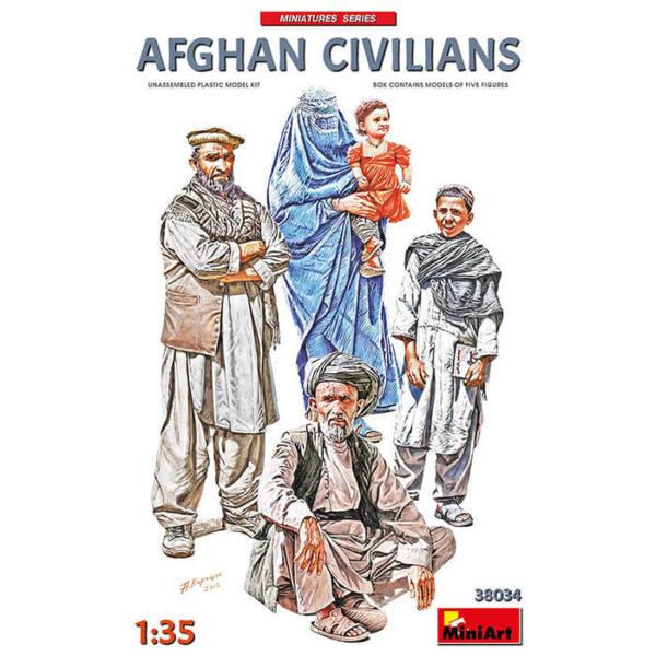 miniart 38034 Afghan Civilians 1/35 Kit en plástico para montar y pintar. Incluye 4 figuras de civiles afganos.