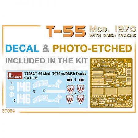 miniart 37064 T-55 Mod. 1970 With OMSH Tracks 1/35 Kit en plástico para montar y pintar. Incluye piezas en fotograbado y cadenas por eslabones individuales.