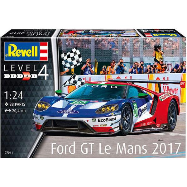 revell 07041 Ford GT Le Mans 2017 1/24 Maqueta en plástico para montar y pintar. Hoja de calcas para 4 coches FIA World Endurance Championship.