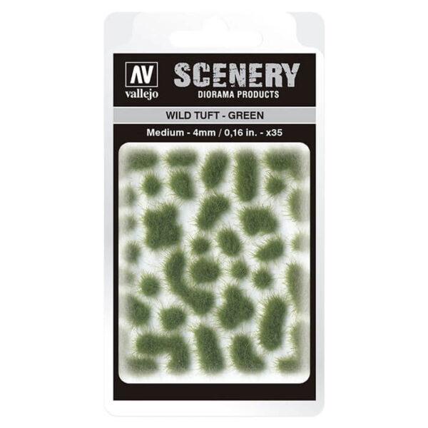Wild Tuft - Green Medium Vallejo Scenery es una gama de vegetación en miniatura con la conseguir un mayor realismo a la hora de ambientar los terrenos para nuestras maquetas y figuras en viñetas y dioramas.
