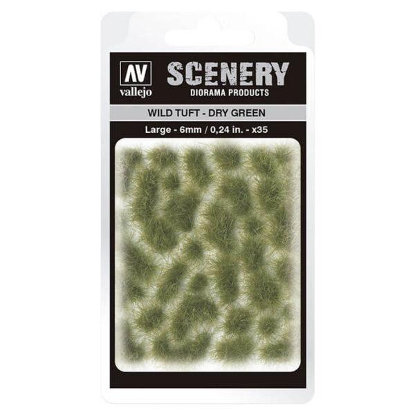 Wild Tuft - Dry Green Large Vallejo Scenery es una gama de vegetación en miniatura con la conseguir un mayor realismo a la hora de ambientar los terrenos para nuestras maquetas y figuras en viñetas y dioramas.