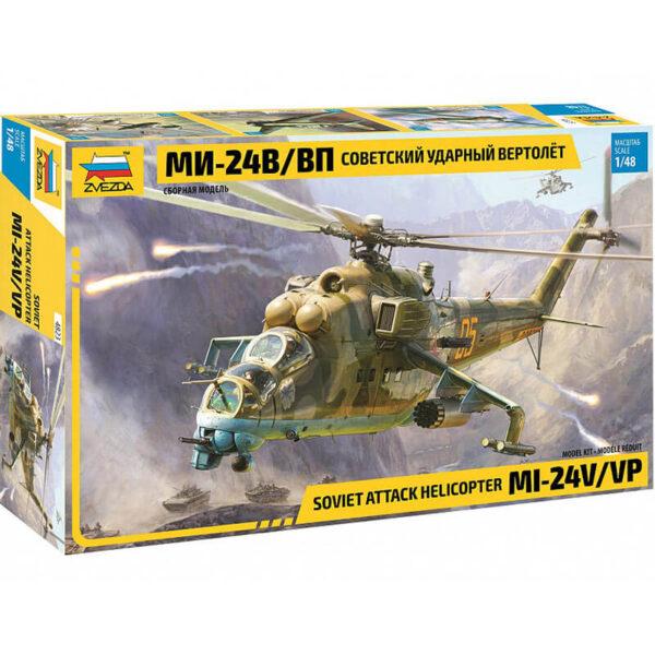 zvezda 4823 Soviet Attack Helicopter MI-24V/VP Hind E 1/48 Kit en plástico para montar y pintar. Hoja de calcas con 4 decoraciones.