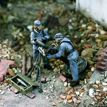 Verlinden 1003 German Heavy Mortar Team 1/35 Kit en resina para montar y pintar. Incluye 2 figuras, mortero y municiones.
