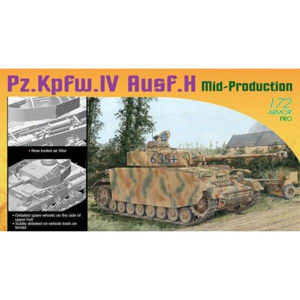 dragon 7279 Pz.Kpfw.IV Ausf.H Mid Production 1/72 Kit en plástico para montar y pintar. hoja de calcas con 5 decoraciones.