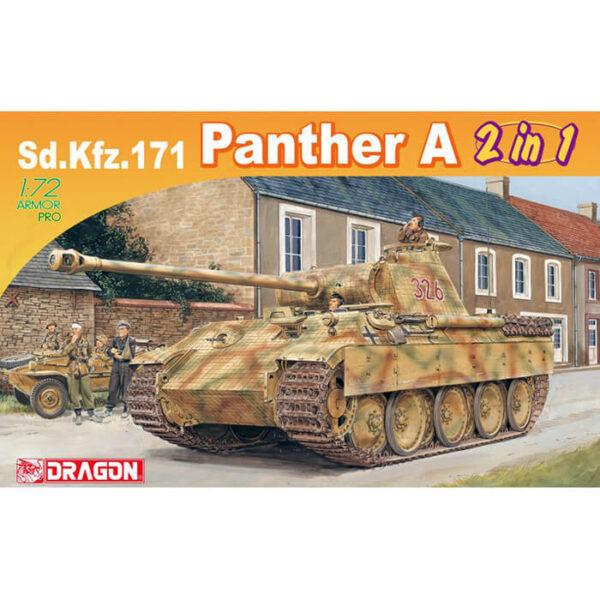 dragon 7546 Sd.Kfz.171 Panther Ausf.A (2 in 1) 1/72 Se puede montar como la versión inicial o final del Panther Ausf.A Kit en plástico para montar y pintar.