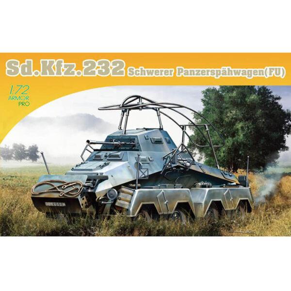 dragon 7581 Sd.Kfz.232 Schwerer Panzerspahwagen (Fu) 1/72 Kit en plástico para montar y pintar. Hoja de calcas con 2 decoraciones.