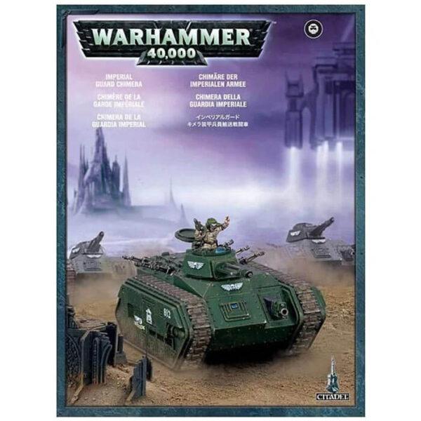 games workshop 47-07 Chimera de la Guardia Imperial Warhammer 40K Kit en plástico multicomponente para montar un transporte Chimera de la Guardia Imperial. Incluye distintas opciones para el arma de la torreta y la barcaza del vehículo. 2 variantes de comandante del carro. Piezas 95.