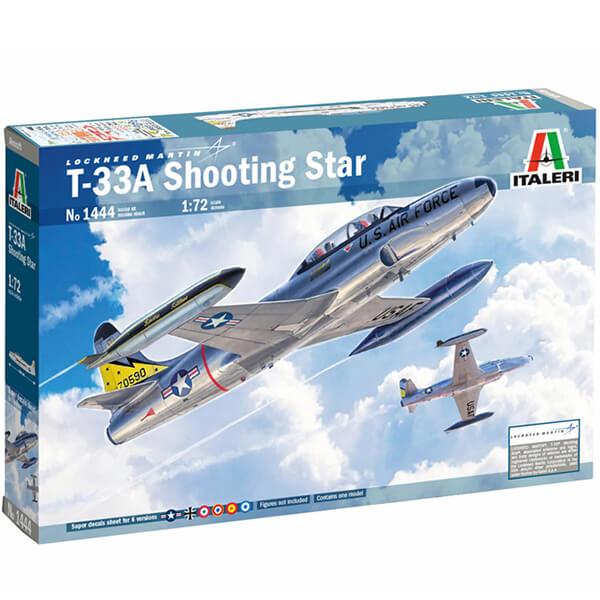 italeri 1444 T-33A Shooting Star 1/72 Kit en plástico para montar y pintar. Hoja de calcas con 8 decoraciones incluida Española.