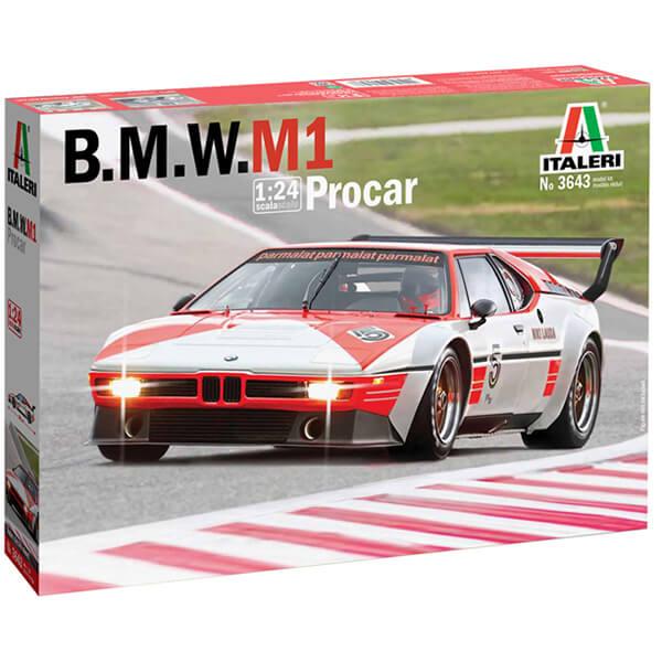 italeri 3643 B.M.W. M1 Procar 1979 1/24 Kit en plástico para montar y pintar. Hoja de calcas para el coche pilotado por Niki Lauda en 1979.
