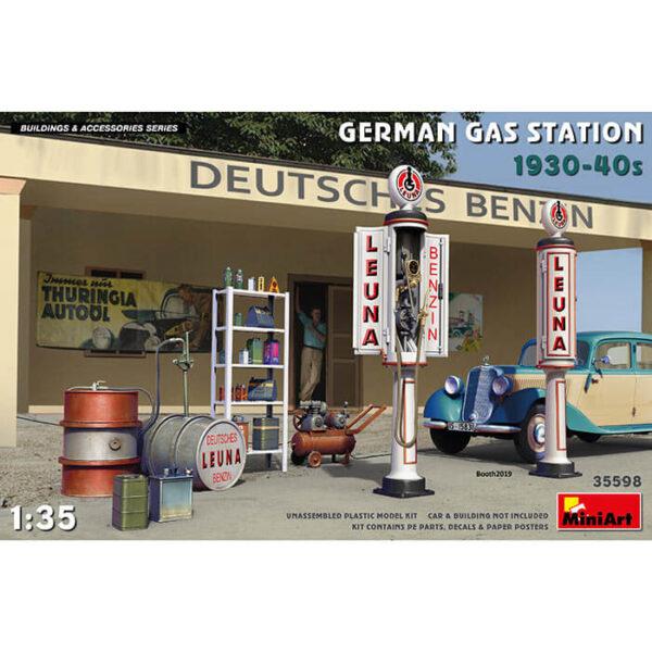 miniart 35598 GERMAN GAS STATION 1930-40s 1/35 Building & Accesories Series kit en plástico para montar y pintar. Incluye piezas en fotograbado y calcas.