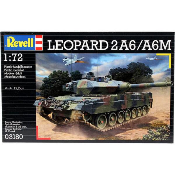 revell 03180 Leopard 2A6/A6M 1/72 Kit en plástico para montar y pintar. Hoja de calcas con 4 decoraciones.