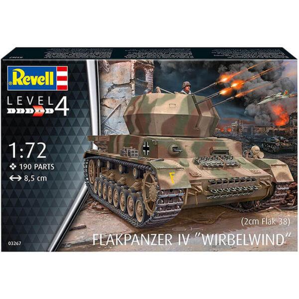 revell 03267 Flakpanzer IV Wirbelwind 2cm Flak 38 1/72 Kit en plástico para montar y pintar. Hoja de calcas con 2 decoraciones.
