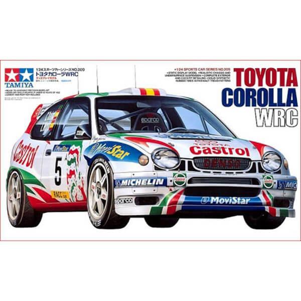tamiya 25209 Toyota Corola WRC 1/24 Kit en plástico para montar y pintar. Incluye mascarillas adhesivas para los transparentes. Hoja de calcas con 2 decoraciones