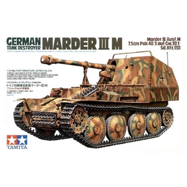 tamiya 35255 Marder III Ausf.M Sd.Kfz.138 1/35 Kit en plástico para montar y pintar. Incluye fotograbado y 1 figura.