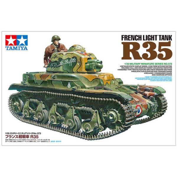 tamiya 35373 French Light Tank R35 1/35 Kit en plástico para montar y pintar. Incluye cadenas por tramo y eslabón y 1 figura.