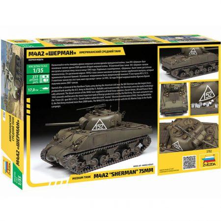 zvezda 3702 M4A2 Sherman 75mm 1/35 Kit en plástico para montar y pintar. Hoja de calcas con 4 decoraciones: 2 USA y 2 USSR