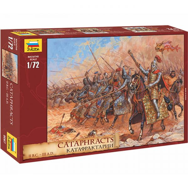 zvezda 8067 Cataphracts II bc III ad 1/72 Kit en plástico para montar y pintar. Incluye 20 figuras a caballo en 8 posturas distintas.