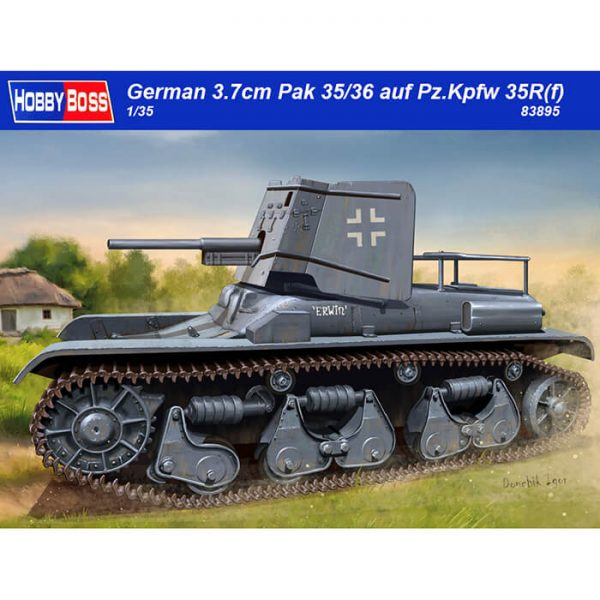 hobby boss 83895 German 3.7cm Pak 35/36 auf Pz.Kpfw 35R(f) 1/35 Kit en plástico para montar y pintar. Incluye piezas en fotograbado y cadenas por tramo y eslabón.