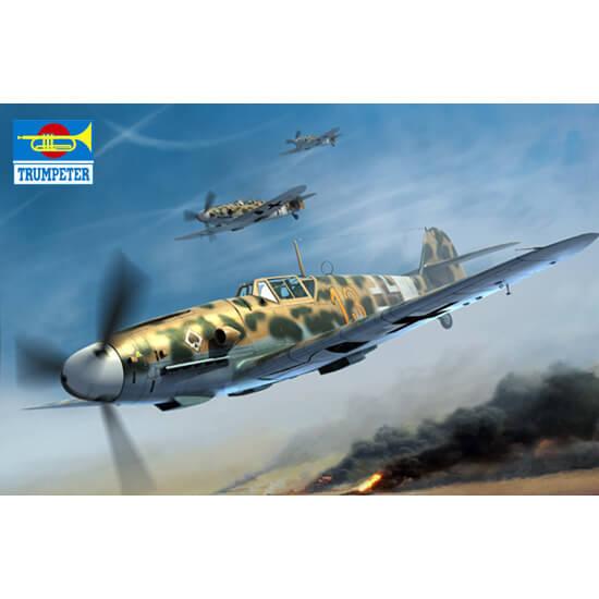 trumpeter 02295 Messerschmitt Bf 109G-2/Trop 1/32 Kit en plástico para montar y pintar. Incluye piezas en fotograbado. Interior de cabina y motor detallados.