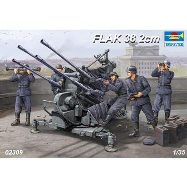 trumpeter 02309 German Flak 38 2cm 1/35 Kit en plástico para montar y pintar, incluye piezas en fotograbado. Piezas para montar el Flak 38 y el carro de transporte.