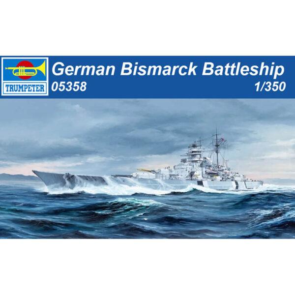 trumpeter 05358 German Bismarck Battleship 1/350 Kit en plástico para montar y pintar. Incluye piezas en fotograbado, cadena para el ancla y pedestal.