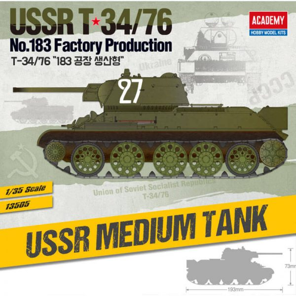 Academy 13505 Russian T-34/76 No. 183 Factory Production 1/35 Kit en plástico para montar y pintar. Incluye piezas en fotograbado y orugas por tramo y eslabón.