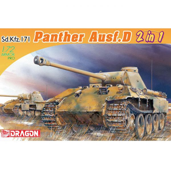 DRAGON 7547 Sd.Kfz.171 Panther Ausf.D 2 in 1 1/72 Early Production / Late Production Panther type Kit en plástico para montar y pintar.