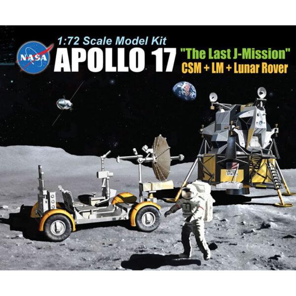 dragon 11015 Apollo 17 The Last J-Mission 1/72 CSM + LM + Lunar Rover kit en plástico para montar y pintar. Incluye 2 figuras de astronautas, piezas en fotograbado y peana.