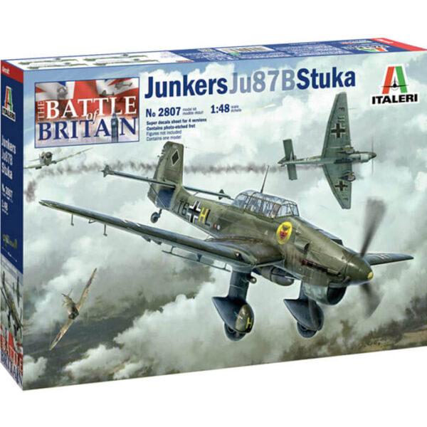 italeri 2807 Junkers JU-87B Stuka 1/48 Kit en plástico para montar y pintar, incluye piezas en fotograbado. Hoja de calcas con 4 decoraciones en Francia 1940.