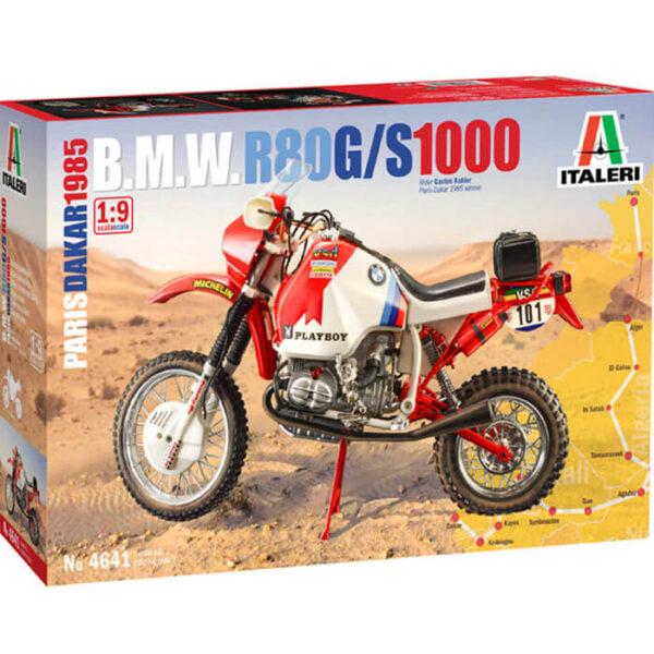 italeri 4641 B.M.W. R80 G/S 1000 Paris Dakar 1985 1/9 Kit en plástico para montar y pintar. Decoración: Gaston Rahier ganador del Rally Paris Dakar de 1985. Longitud 258 mm
