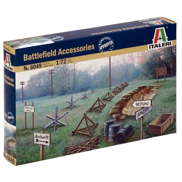 italeri 6049 Battlefield Accessories 1/72 Kit en plástico para montar y pintar. El set esta compuesto por diferentes accesorios para dioramas