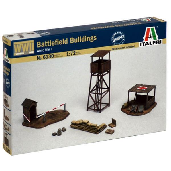 italeri 6130 Battlefield Buildings 1/72 Kit en plástico para montar y pintar. El set esta compuesto por una torre de observación, garita con barrera, puesto de primeros auxilios y sacos terreros.