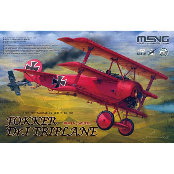 meng qs-002 Fokker Dr.I Triplane 1/32 Maqueta en plástico para montar y pintar. Incluye piezas en fotograbado. Hoja de calcas con 4 decoraciones de ases alemanes.