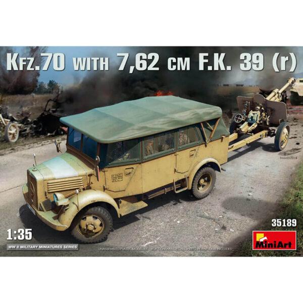 miniart 35189 Kfz.70 & 7,62 cm F.K. 39 (r) 1/35 WWII Military Miniatures Series Kit en plástico para montar y pintar. Incluye piezas en fotograbado.
