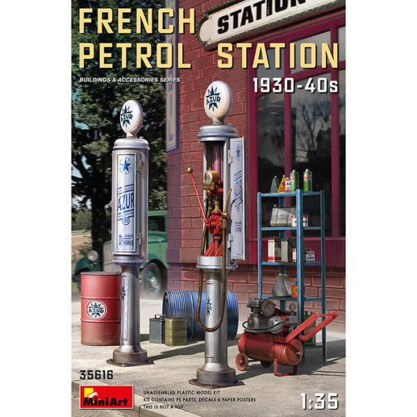 miniart 35616 French Petrol Station 1930-40s 1/35 Buildings & Accessories Series Kit en plástico para montar y pintar.