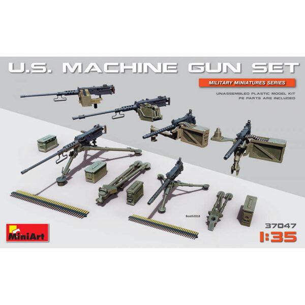 miniart 37047 US Machine Gun Set 1/35 Kit en plástico para montar y pintar. Incluye piezas en fotograbado. Cal.50 Heavy Machine Gun Browning M2 Cal.30 Machine Gun Browning M1919