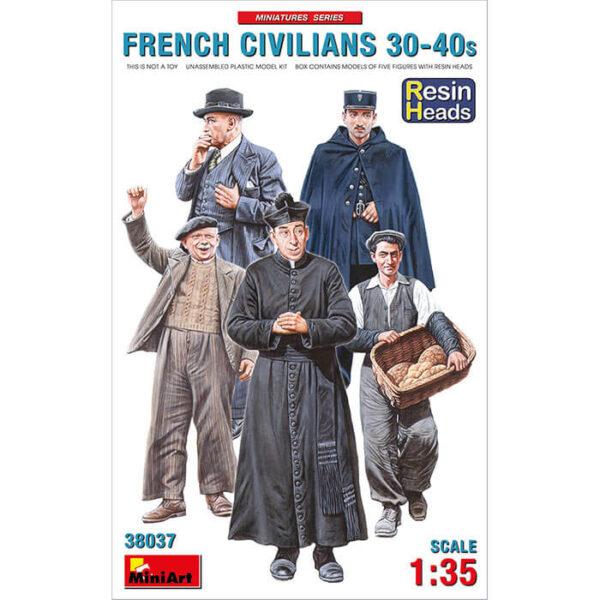 miniart 38037 French Civilians '30-'40s 1/35 Miniatures Series Kit en plástico para montar y pintar 5 figuras de civiles franceses.